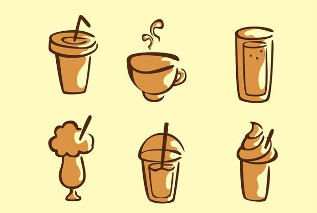 set of coffee drink vector