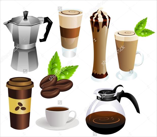 high quality coffee vector set