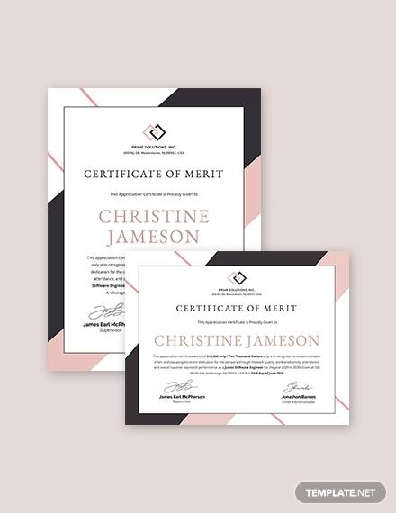 appreciation certificate template for employee merit