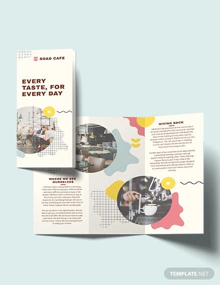 cafe tri fold brochure template