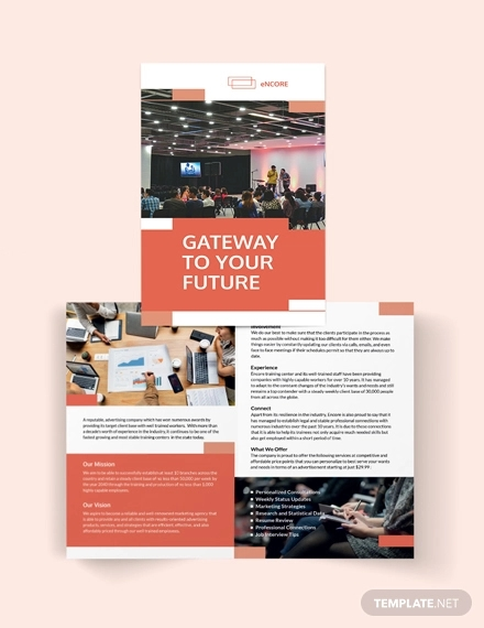 corporate training bi fold brochure template