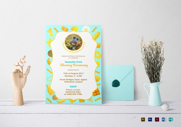creative naming ceremony invitation template