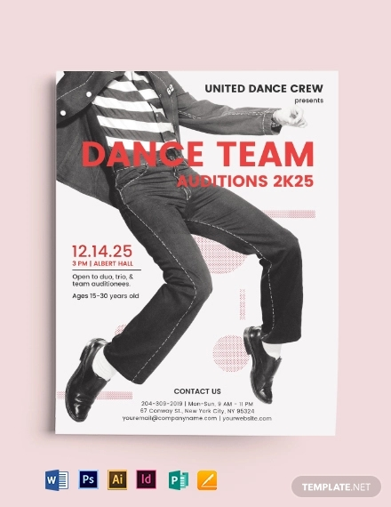 dance team audition flyer template