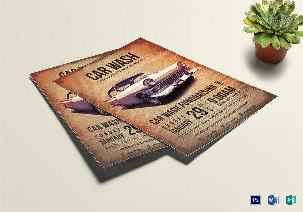 easy to edit car wash fundraising flyer template 600x420