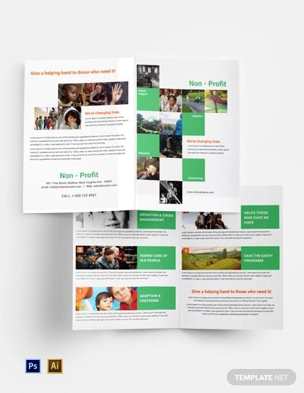 free non profit bi fold brochure template