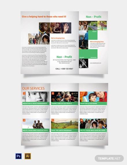 free non profit tri fold brochure template