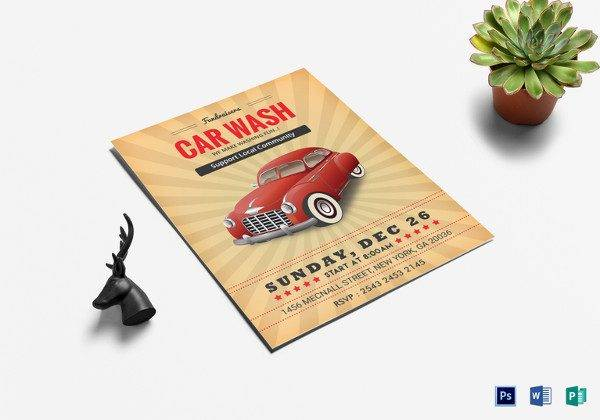 fundraiser car wash flyer template in psd 600x420