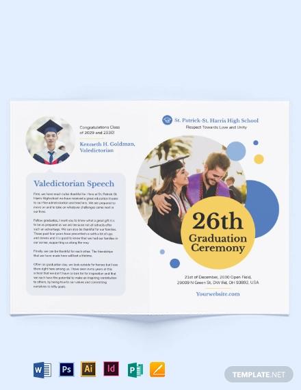 graduation ceremony bi fold brochure template1