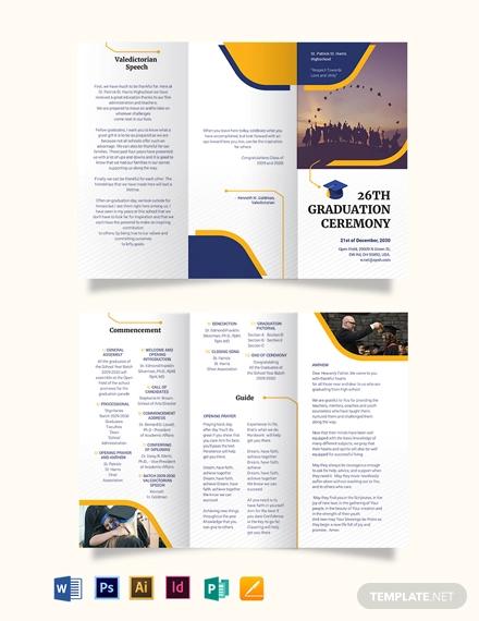 graduation tri fold brochure template