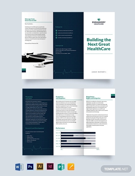 health and safety annual report tri fold brochure template