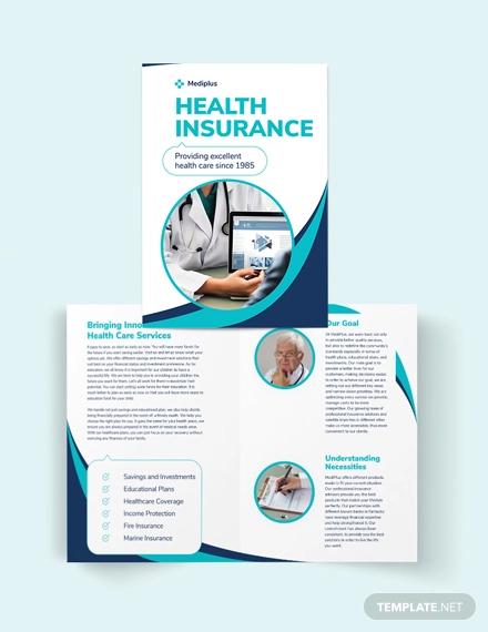 health insurance company bi fold brochure template