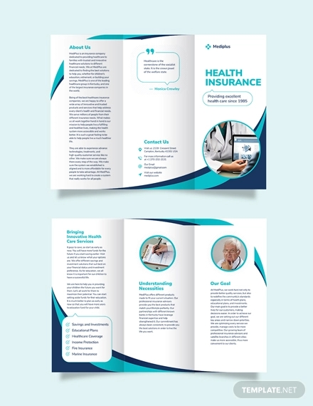 health insurance company tri fold brochure template