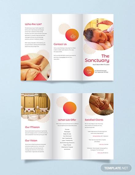 massage therapy tri fold brochure template