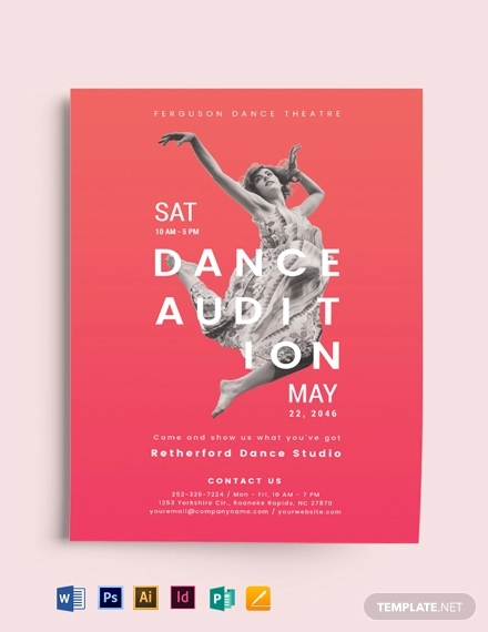 modern dance audition flyer template
