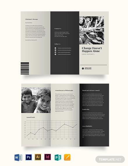 non profit annual tri fold brochure template