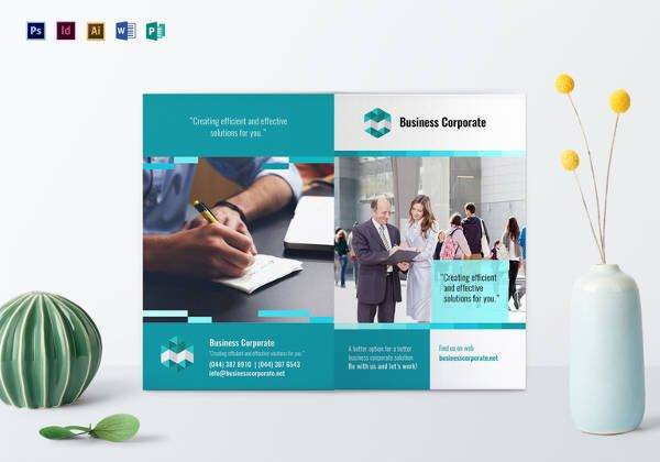 printable bi fold business corporate brochure design 600x420