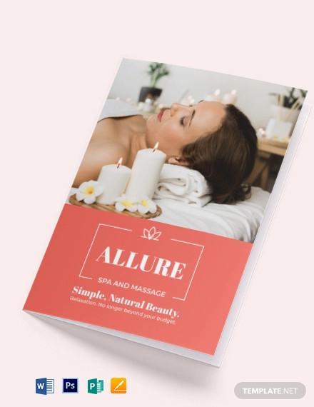 spa massage bi fold brochure template
