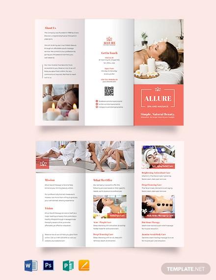 spa massage tri fold brochure template