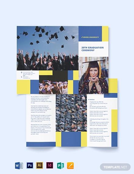 university graduation tri fold brochure template