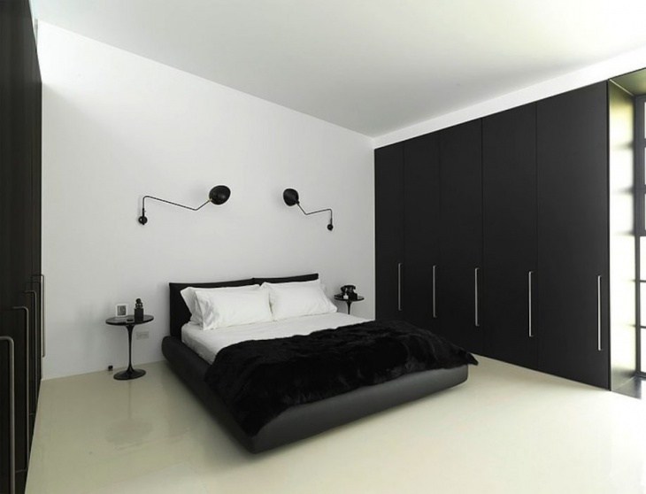 Dark Black Plank Wooden Wardrobes for Elegant bedroom