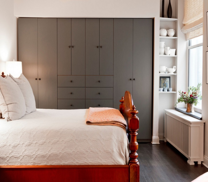 Master Wood Bed With Gray Wardrobe Design