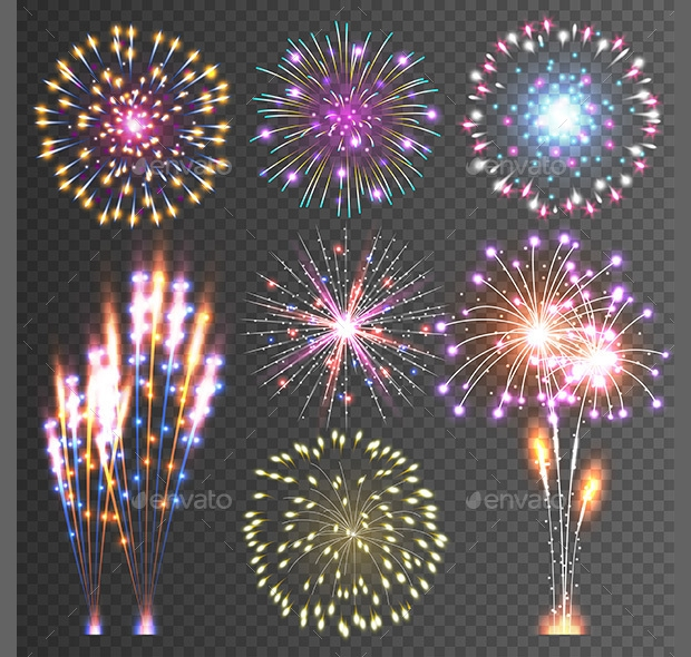 isolated fireworks vector illustration