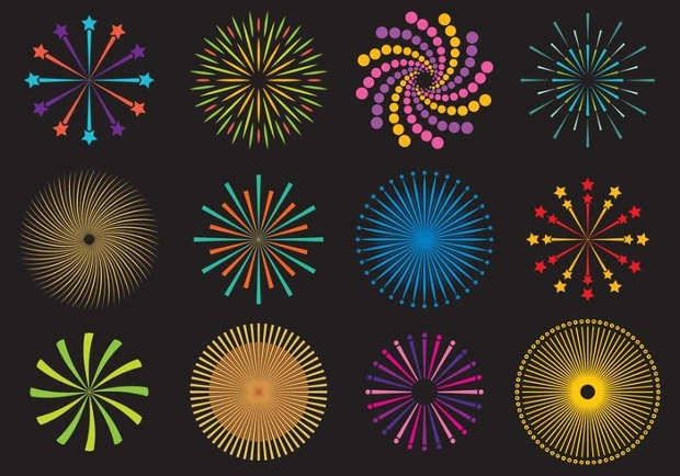 fire crackers and fireworks vector