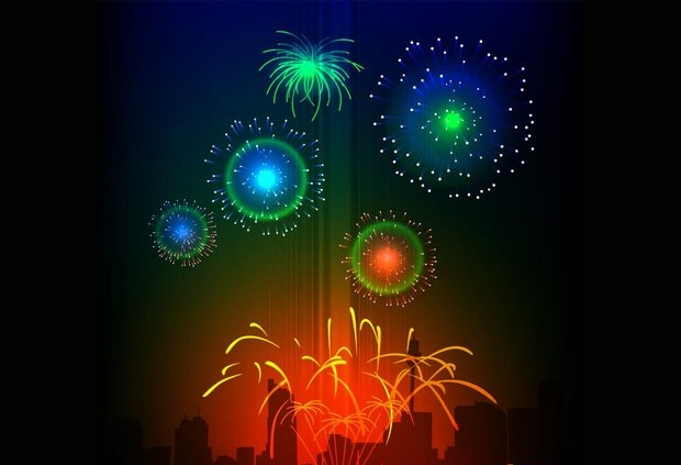 bright colorful fireworks vector