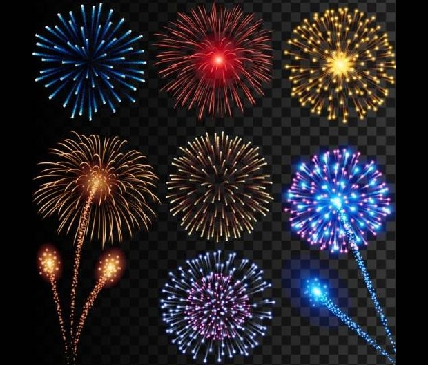 colored holiday fireworks vectors