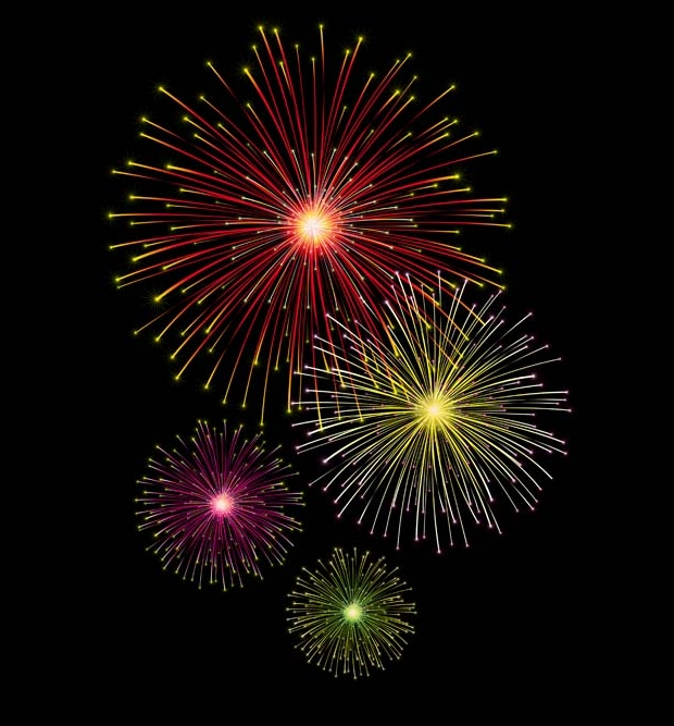 shining holiday fireworks vector