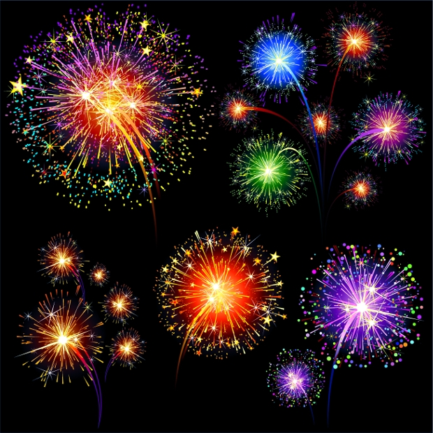 colorful fireworks sparkle vector