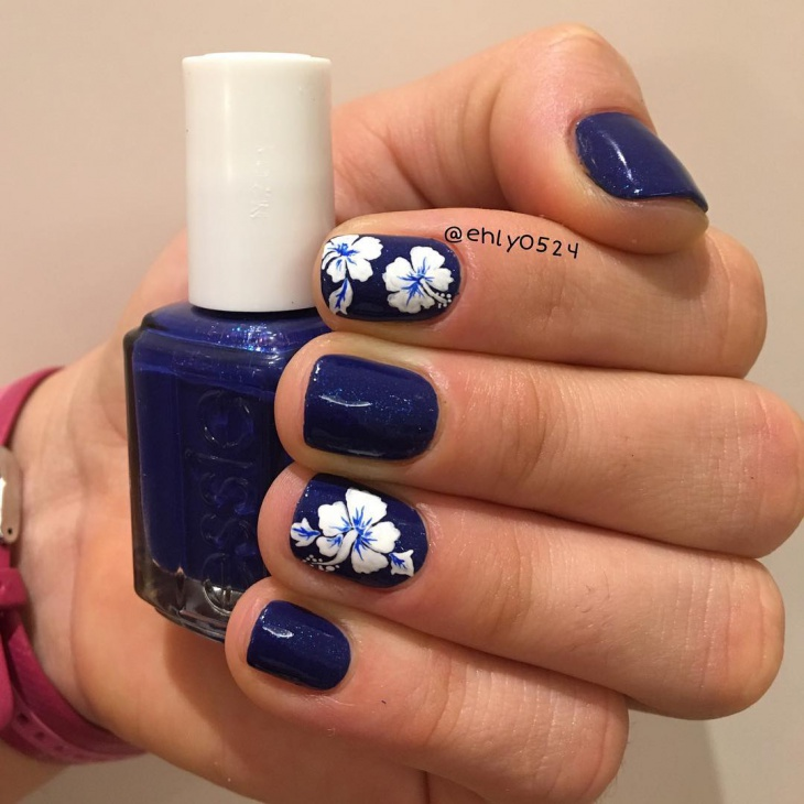 Blue Hibiscus Nail Design