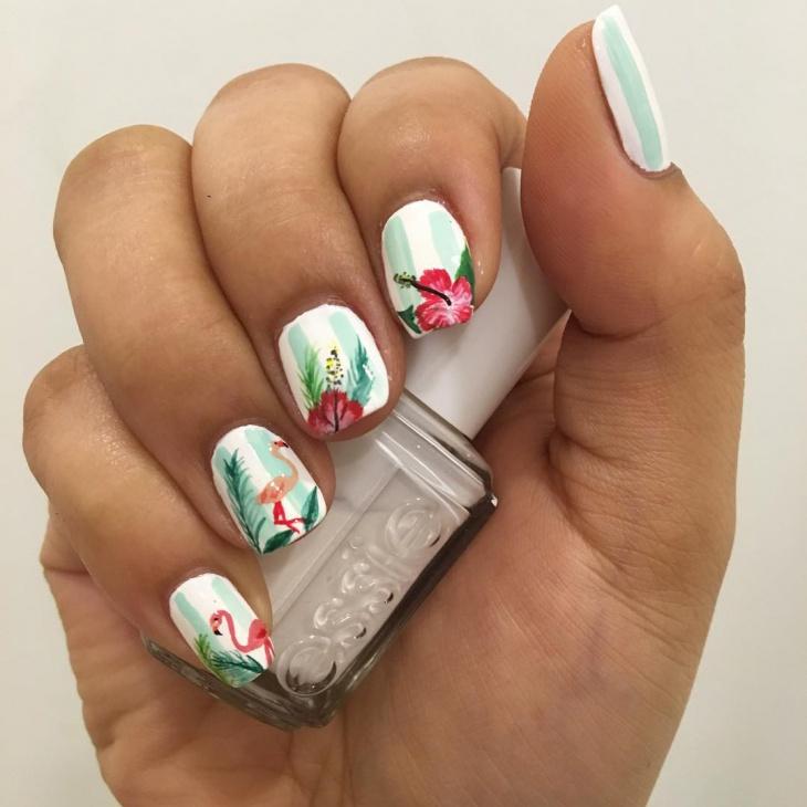 white hibiscus nail art