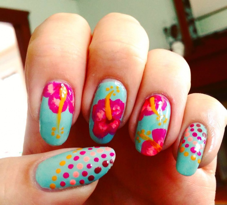 Hawaiian Hibiscus Nail Art