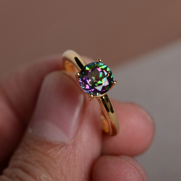 emerald ring silver wedding genuine for engagement mystic topaz fire hot natural sterling women rainbow cut rings