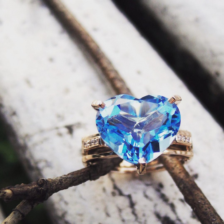 Diamond Love Topaz Ring