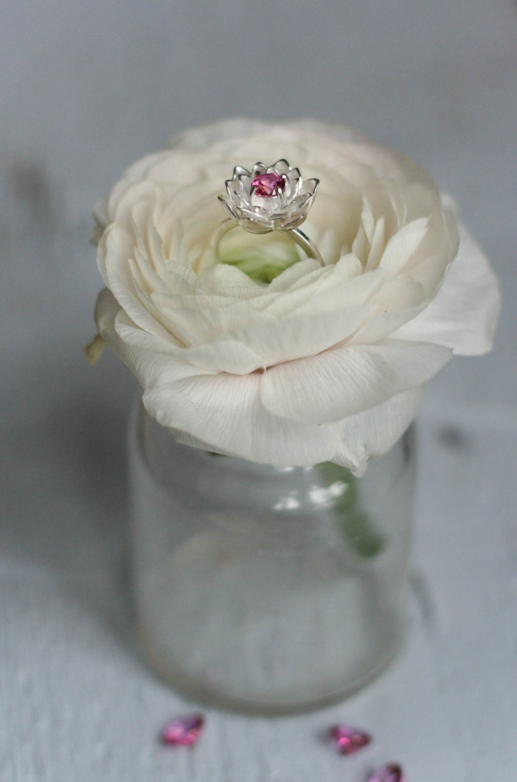 Flower Engagement Topaz Ring