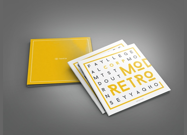 Retro Style Square Brochure Design