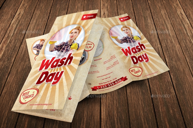 Retro Cleaning Day Service Brochure