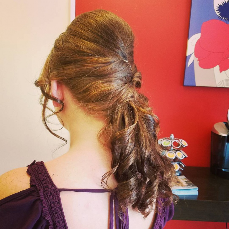 Teased Low Ponytail