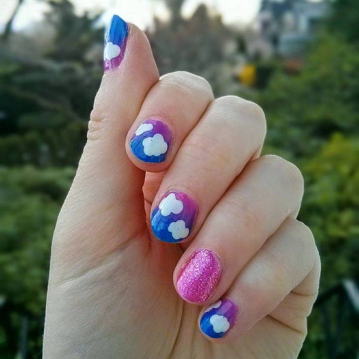 pretty cloud nail art design
