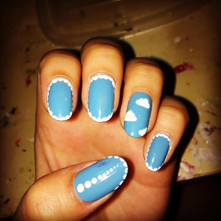 fluffy clouds nail art idea