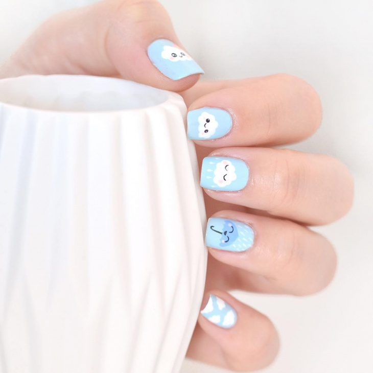 cute cloud nail art for square nails