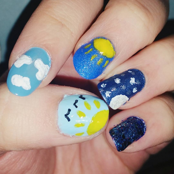 unique cloud nail art idea