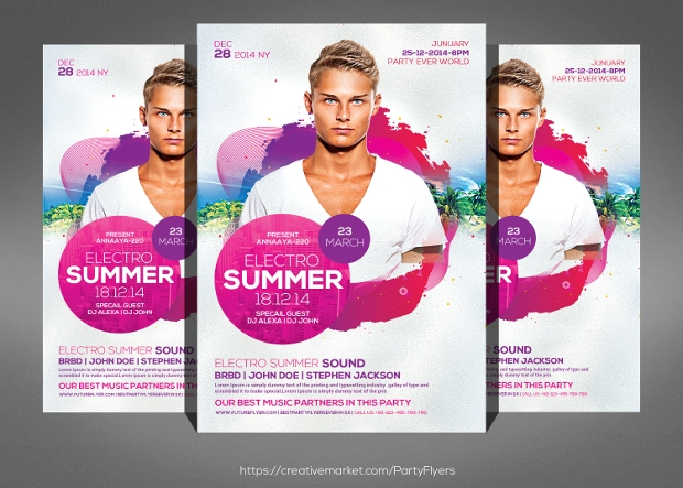 Summer Grunge DJ Flyer Design