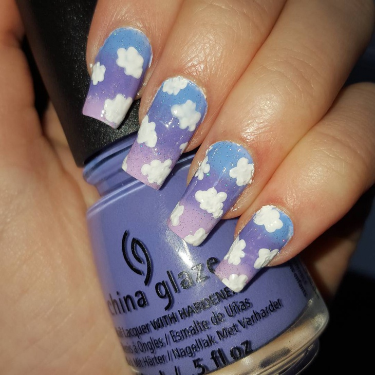 cloudy summer nail art