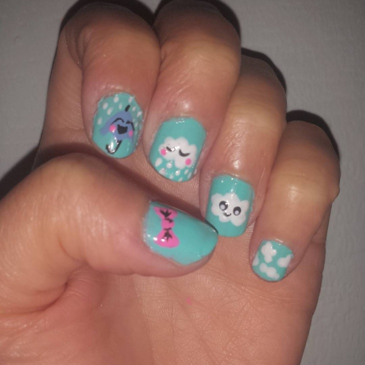 simple cloud nail design idea