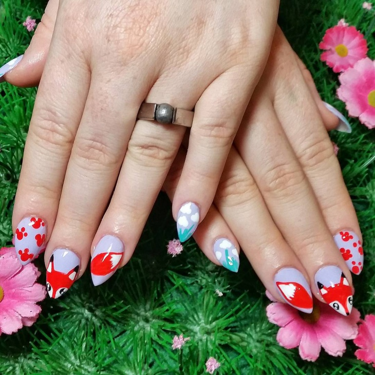 cloud nail art for almond nails