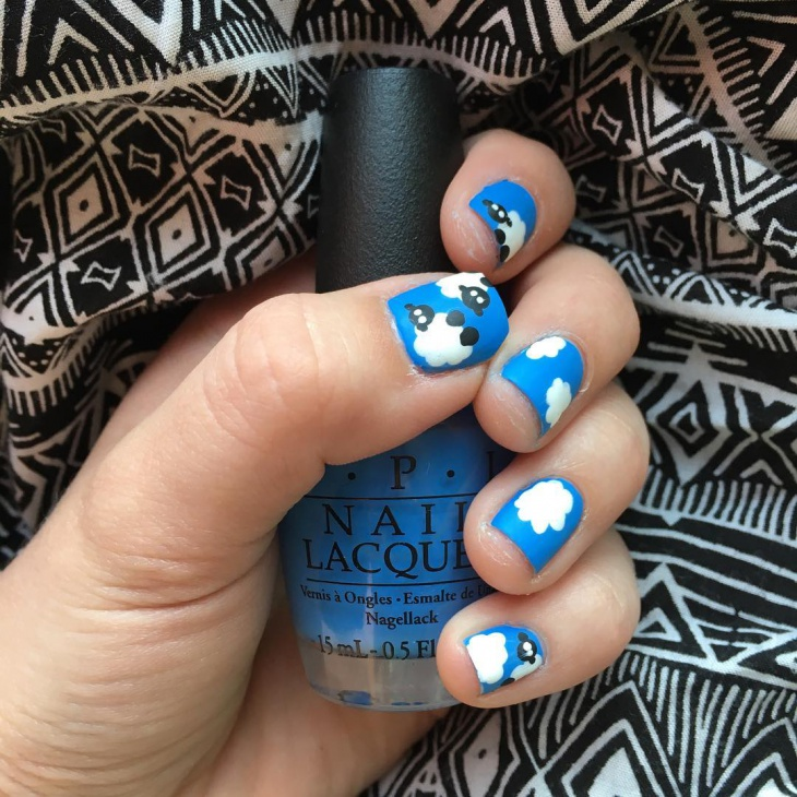 lovely cloud nail art for short nails