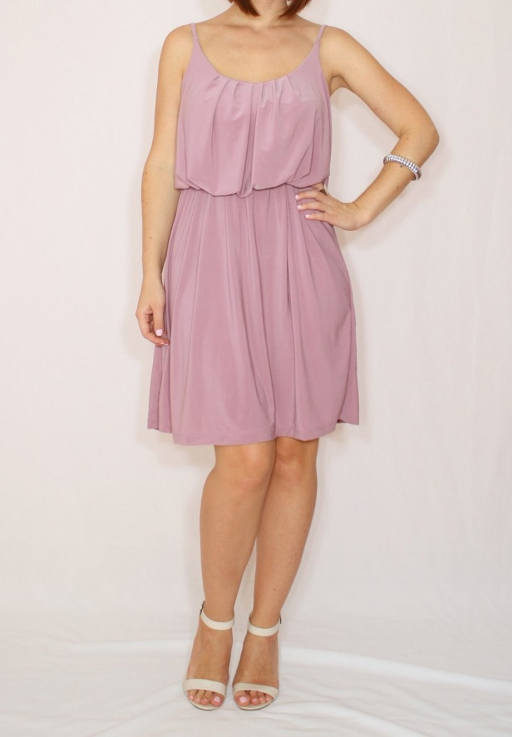 Purple Short Blouson Dress
